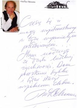 Wpis do Księgi Pamiątkowej DMS - Wiesława Ochmana.