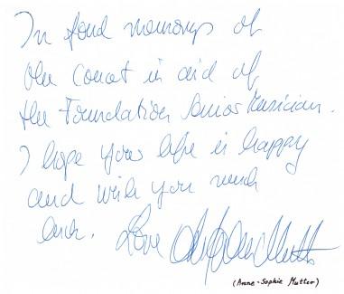 Anne -Sophie Mutter - wpis w Księdze Pamiątkowej DMS.