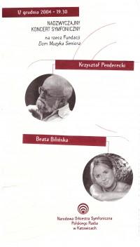 Koncert z udziałem Krzysztofa Pendereckiego oraz Beaty Bilińskiej.