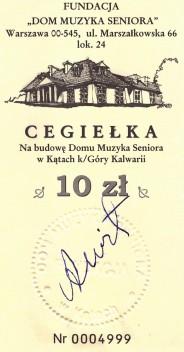 Cegiełka podpisana przez A. Wita.