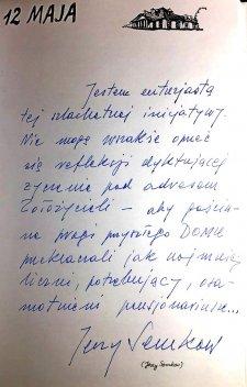 Wpis Jerzego Semkowa w Księdze Pamiątkowej DMS.