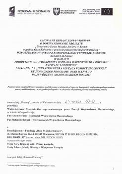 Umowa o dofinansowanie projektu.